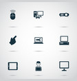 gadget icons set with computer monitor computer vector image vector image