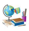geography lesson related elements cartoon globe vector image vector image
