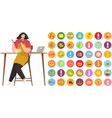 girl sitting at table and watching culinary video vector image vector image