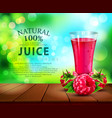 glass cup with juice raspberry standing on a vector image