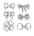 hand drawn bow ties black and white vector image