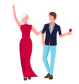 happy couple on party icon vector image vector image