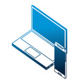 laptop computer with smartphone device isometric vector image