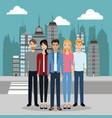 men and women street city vector image vector image