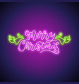 merry christmas neon sign purple vector image