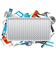 metal frame with hand tools vector image vector image