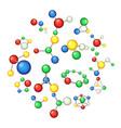 molecule icons set cartoon style vector image