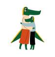 mother crocodile hugging her kid loving parent vector image vector image