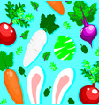 pattern with white rabbit and vegetables vector image