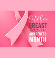 pink background with paper ribbon symbol october vector image vector image