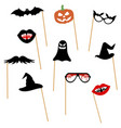 pumpkin mustache bat glasses hat lips ghost vector image vector image