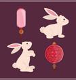 rabbits with lanterns set vector image vector image