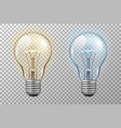 realistic light bulb glowing yellow and blue vector image