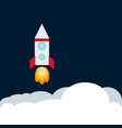 rocket spaceship take off with fire colored vector image vector image
