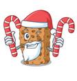 santa with candy granola bar mascot cartoon vector image