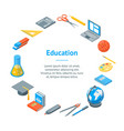 school equipments and tools banner card circle vector image vector image