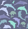 seamless pattern purple dolphins vector image