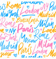 seamless pattern with names of world cities vector image vector image