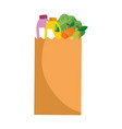 shopping paper bag with products vector image vector image