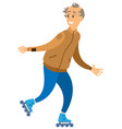 smiling aged male rollerblading sport vector image vector image