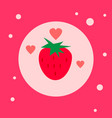 sweet strawberry icon on pink background vector image