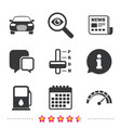 transport icons tachometer and petrol station vector image