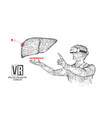 vr wireframe headset man with liver banner vector image vector image