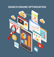 web seo isometric composition vector image