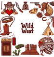 wild west template in hand drawn style vector image