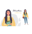young women in casual clothes with backbackpacks vector image vector image