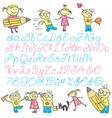 vecrot children calligraphy letters with boy and g vector image