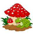 Cartoon frog basking under mushrooms vector image