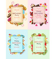 colorful birthday party invitation cards vector image