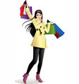 Shopping Girl in Yellow vector image