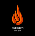 Fire flames in a drop shape logo template vector image