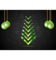 Abstract Christmas fir tree with green balls vector image