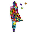 abstract woman with colored butterflies vector image vector image