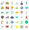 aircraft icons set cartoon style vector image vector image