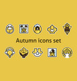 autumn icons set maple leaf products vector image