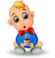 baby cartoon holding birthday cake vector image vector image