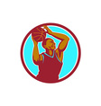 Basketball Player Rebounding Ball Circle Retro vector image vector image