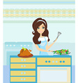 Beautiful lady serving dinner vector image vector image