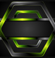 black and green glossy hexagon tech drawing design vector image
