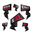 black friday discount design set black flashes vector image vector image