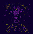 cat astronaut flying over the moon vector image vector image