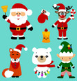 christmas icons collection santa new year vector image