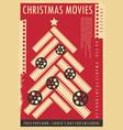 christmas movie show retro poster design vector image vector image