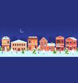 christmas town night winter wonderland street vector image vector image