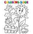 coloring book flower topic 7 vector image vector image