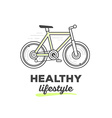 creative sport bicycle with text on white vector image vector image